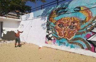 Βάψιμο επί γκράφιτι στην Ραψάνη