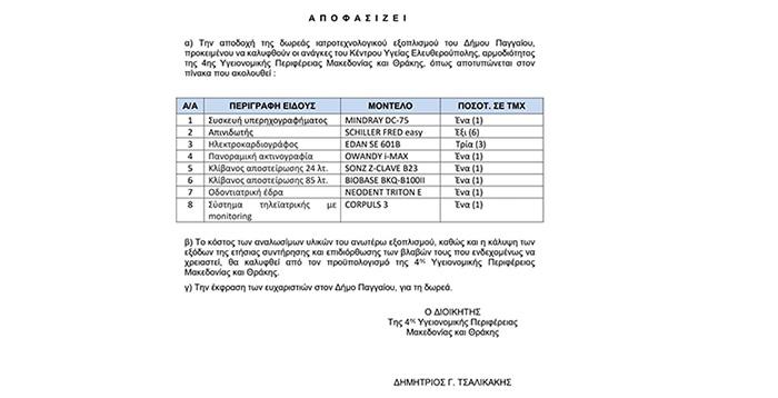 Δωρεά του Δήμου Παγγαίου στο ΚΥ Ελευθερούπολης (φωτογραφία)