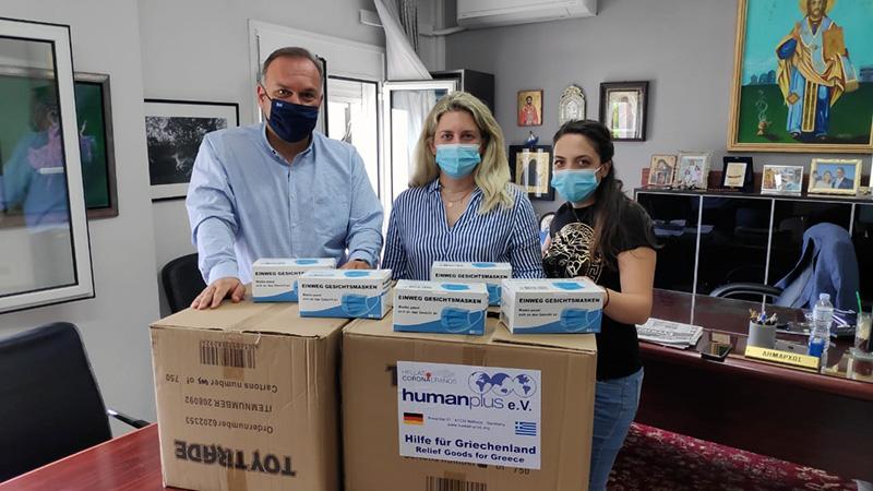 Δωρεά 3.000 χειρουργικών μασκών από τη Human Plus e.V στο Δήμο Θάσου